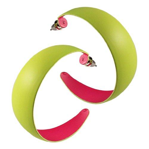 Chic-Net Ohrringe Creolen knallig neon Farben nickelfrei Edelstahl Stecker Ringe gelb- innen (Neon Creolen)