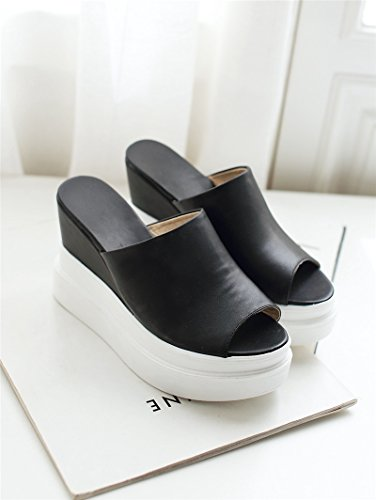 ZPPZZP Ms sandali pantofole scanalato a tacco alto 35EU nero 38EU