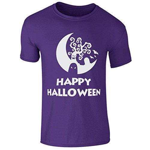 oween Scary Ghost Tree High Quality Printed T Shirt UK S-XXL (Large) Purple (Scary Halloween-bäume)