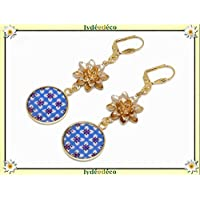 24K gold earrings lotus flower resin Japan blue white washi nenuphar personalized gifts Christmas friends birthday wedding ceremony guests mother's day couples