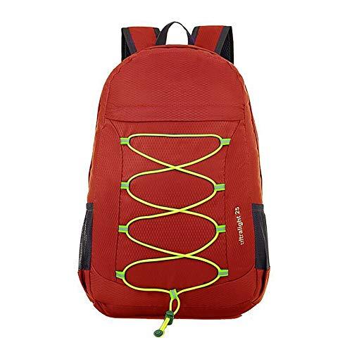 NY-close 25L Leichter Wanderrucksack, Faltbarer wasserdichter Reisetaschenrucksack, Camping-Tagestasche, verpackbar für sportliche Outdoor-Camping-Wanderungen, Trekking-Kurztrips (Color : Red) - 25 Tagesrucksack