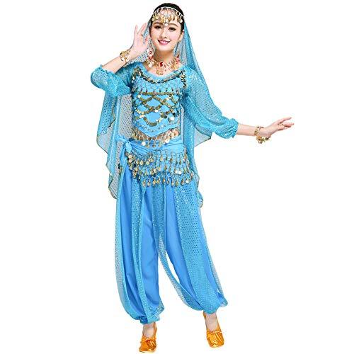 Xinvivion Mujer Profesional Danza del Vientre Disfraz Bollywood Indio árabe Bailando Rendimiento Outfits Traje (Azul,Ajuste 45-70 KG)