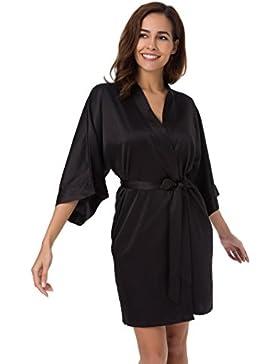 SIORO raso kimono accappatoio Pigiama Pyjamas Donna Vestaglia da Notte Kimono Sleepwear XS-XXL