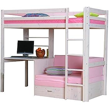 thuka hochbett 90x200 bett weiss inkl matratze rosa und lattenrost k che haushalt. Black Bedroom Furniture Sets. Home Design Ideas
