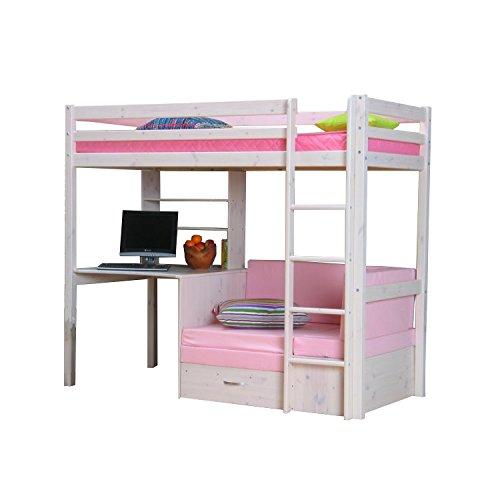 Thuka Hochbett, 90x200 Bett weiss inkl. Matratze rosa und Lattenrost