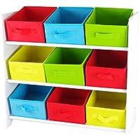 Preisvergleich für Multistore 2002 Kinder Aufbewahrungsregal mit 3 Ebenen und 9 Textilschubladen 65x30x60cm Spielzeugregal Kinderregal Standregal mit Boxen Körben Schubladen Spielzeugkiste Spielzeugbox
