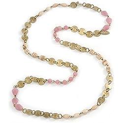 Vintage Dusty rosa, cuentas de cristal Nude y dorado antiguo Coin–Collar largo 100cm L