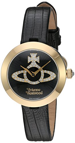 Vivienne Westwood Queensgate Women's Quartz Watch with Black Dial Analogue Display and Black Leather Strap VV150GDBK