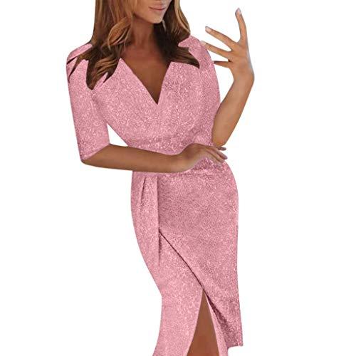 Kleider Damen,SANFASHION Damen Elegant Pailletten Wrapped Asymmetrisch Kleider Tief V Ausschnitt Glitzer Abendkeider für Hochzeit Festlich