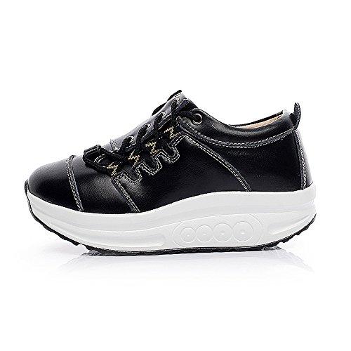 Shenn Donna Comodo Piattaforma Cuneo Allacciatura Pelle Addestratore Sneaker Scarpe 1062 Nero