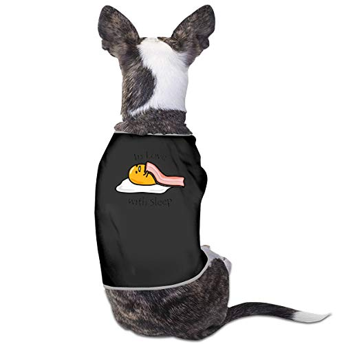 Kostüm Baby Love Puppy - Jiaojiaozhe Gudetama In Love with Sleep Pet Service Pet Clothing Funny Dog Cat Costume Tshirt Black