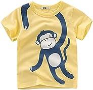 Camisetas de niños Tops Dinosaurio Patrón de dibujos animados Niños Ropa de Verano Niño 100% Algodón Camiseta