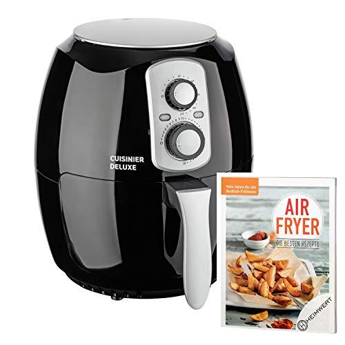 CUISINIER DELUXE - XXL Premium Heißluftfritteuse Airfryer | 3,6L Fassungsvermögen| Innovative Technologie | ohne Öl - fettarm genießen | + Original Airfryer Kochbuch