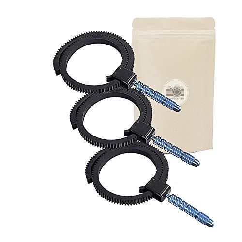 Set di 3 Follow Focus per obiettivo DSLR, anello dentato in gomma, adattabile e regolabile, compatibile con tutte le marche