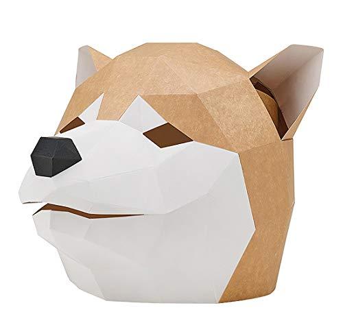 Casa perfetta shiba inu husky maschera fai da te coperchio testa di animale carta stampo materiale fatta a mano del partito di halloween maschera mascherata uomini e le donne del partito copricapo dim