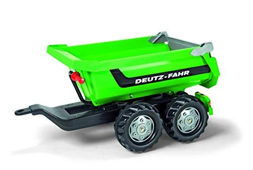 Deutz Trettraktor Rolly Toys 122240 Halfpipe Deutz-Fahr | Kippanhänger mit kippbarer Heckklappe | Zweiachsanhänger | ab 3 Jahren | Farbe grün
