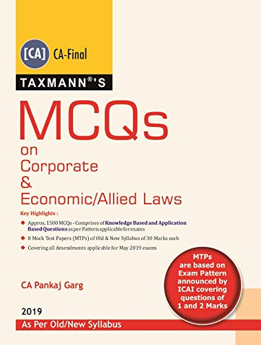 MCQs on Corporate & Economic/Allied Laws (As Per Old/New Syllabus-For May 2019 Exams)(2019 Edition)