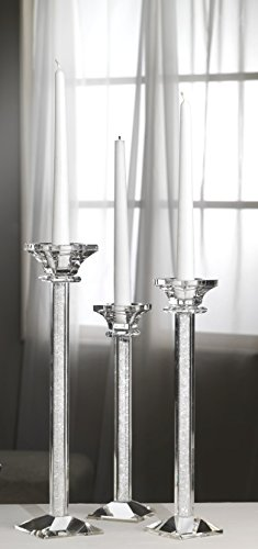 Debora carlucci set 3 candelabri in vetro con micro cristalli interni