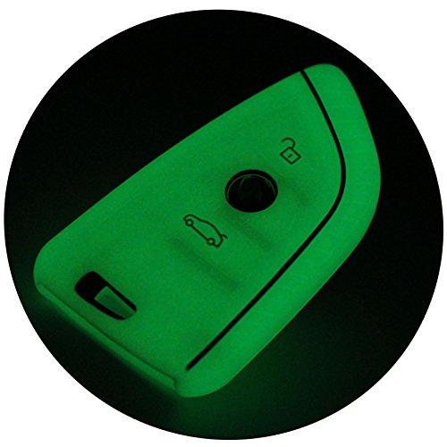 Schlüssel Hülle BD für 3 Tasten Auto Schlüssel Silikon Cover von Finest-Folia (Nachtleuchtend)