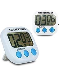 DiscoballLot de 2 Minuteurs électroniques numériques LCD fonction compte à rebours alarme horloge pour cuisine et sport
