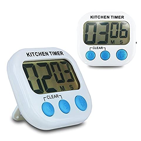(2 Pack) Kitchen Timer Magnetic Digital Timer Cooking Countdown Clock Large LCD Display Loud Alarm with Stand Discoball (White + Blue Button)