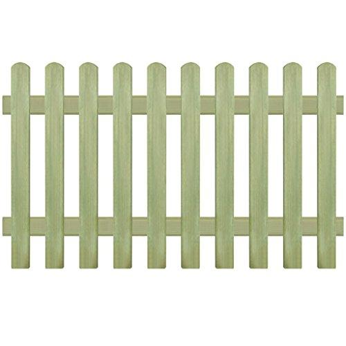 Tidyard Clôture à Piquets Bois | Clôture de Jardin | Clôture de Sécurité | Clôture Décorative Bois de Pin Imprégné FSC 170 x 100 cm 6/9 cm