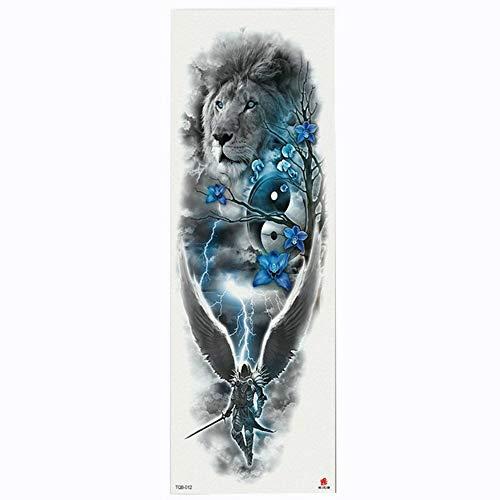 Tatuaggio completo per tatuaggio con braccio a forma di fiore tatuaggio temporaneo per trasferimento di acqua con vernice corpo e corpo, confezione da 4,17×48cm