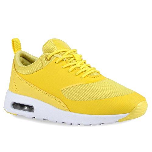 Damen Sportschuhe | Runners Sneakers | Laufschuhe Fitness | Trendfarben | Sportliche Schnürer Gelb