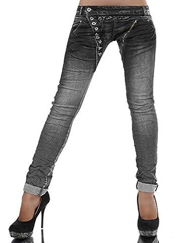 L368 Damen Jeans Hose Boyfriend Damenjeans Harem Baggy Chino Haremshose, Farben:Anthrazit;Größen:38