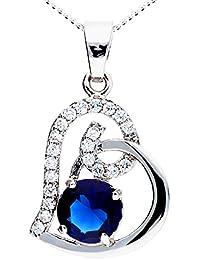 MYA art Damen Kette Halskette 925 Silber Rhodiniert Herz Anhänger mit  Zirkonia Swarovski Elements Kristallen Saphir b99544a9af