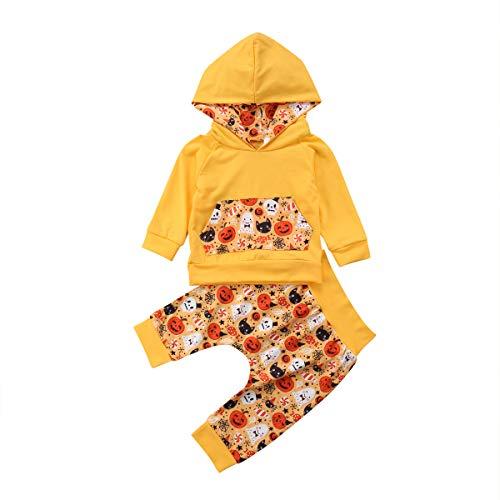 Shawnlen Kleinkind Baby Junge Halloween Outfits Set Langarm Hoodie Sweatshirt Floral Hose 2 Stück Baumwolle Kleidung Set für 0-24 Monate (9-18 M, Gelb)