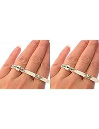 Lot de 2 anneaux pour mesurer la taille de doigt, tailles britanniques A à Z avec conseils d'utilisation