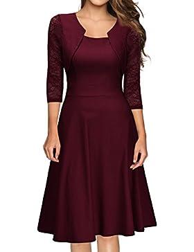 Miusol Damen Abendkleid Elegant Cocktailkleid Vintag Kleider 3/4 Arm mit Spitzen Knielang Party Kleid Weinrot...