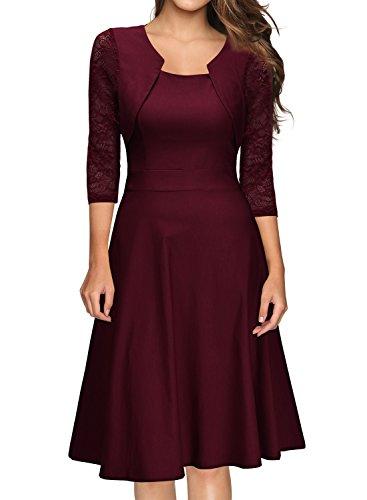 Miusol? Damen Abendkleid Elegant Cocktailkleid Vintage Kleider 3/4 Arm mit Spitzen Knielang Party Kleid Weinrot Gr.M