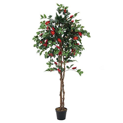 artplants – Künstlicher Kamelien Baum, 1630 Blätter, 110 Blüten, rot, 180 cm – Kunstblumen Baum/Plastik Baum