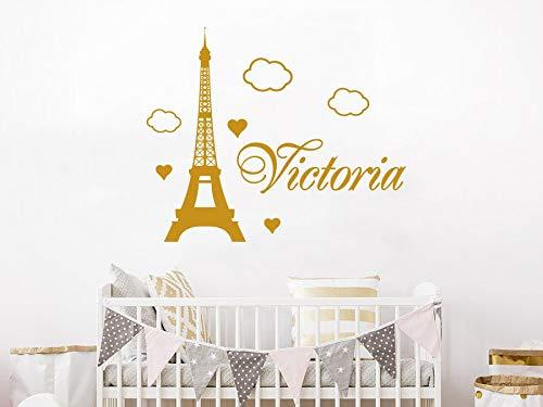 Dozili Autocollants muraux personnalisés Paris en Vinyle pour Chambre d'enfant 38,1 cm de Hauteur