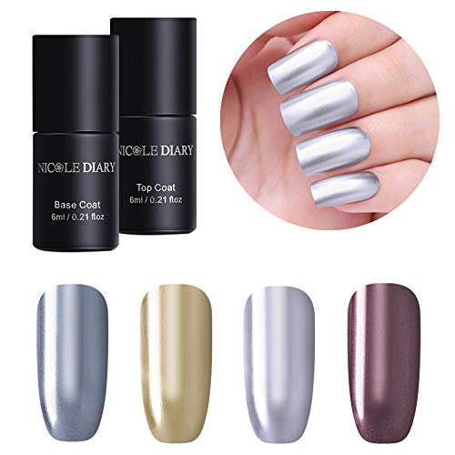 NICOLE DIARY Gel Nagellack Kit 6ml Metallic-Spiegel Effekt tränken Gel-Lack (4 Flaschen) mit 6ml Base & Top Coat Gel-Nagellack (2 Flaschen) UV-LED Tränken weg Nail Art Design Beauty Set (Spiegel Gel Nagellack)