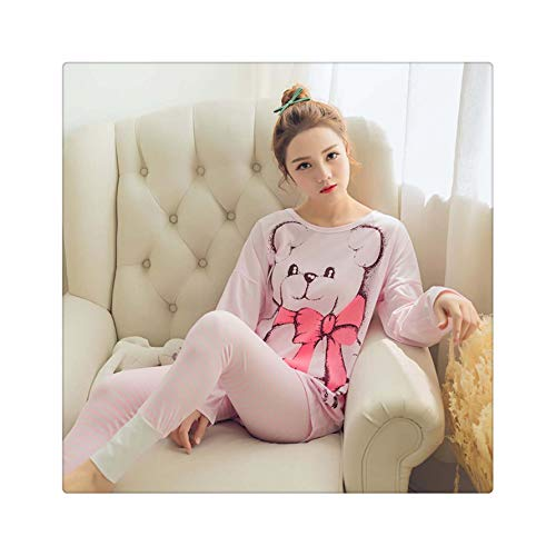 ASILAX& Winter Women Pyjamas Long Sleeve Pajamas Set Student Tracksuit Tops Female Pyjamas Sets Night Suit Sleepwear hudiejiexiong pink S (Halloween Secret-models S Victoria)