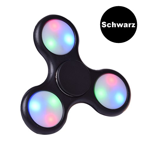 Preisvergleich Produktbild LEEHUR Fidget Spinner Fidget Toys Hand Spinner Finger Spielzeug für Kinder und Erwachsene Spielzeug Geschenke (LED-Schwarz s)