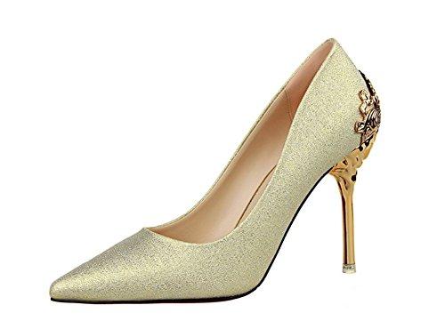 Wealsex Wildleder spitz Stiletto Damen Pumps Hochzeitsschuhe High Heels Gold