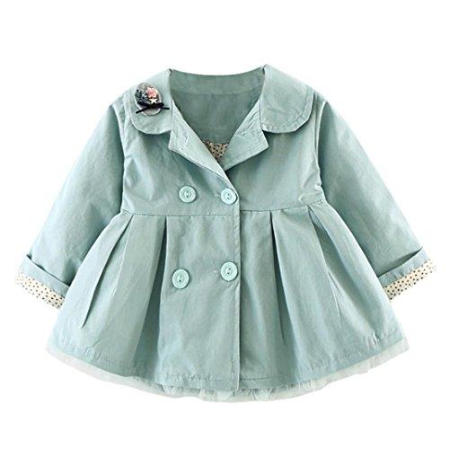 Huhu833 Baby-Kapuzen Mantel,Kinder Baby Mädchen Herbst Winter mit Kapuze Mantel Mantel Jacke Starke warme Kleidung (90CM, Grün)
