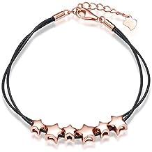 Pulsera para mujer Infinite U de plata de ley 925 bañada en oro rosa con abalorios en forma de estrellas y cuerda ajustable de algodón de color negro