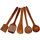 AK Handicraft Multipurpose Serving And Cooking Spoon Set For Non Stick Spoon For Cooking Baking Kitchen Tools Essentials Wooden Non Stick Spatulas & Ladles Wooden Spoon Set Of 5 | 1 Frying, 1 Serving, 1 Spatula, 1 Chapati Spoon, 1 Desert For Kitchen &
