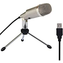 Computer Microfono a Condensatore per YouTube Skype Giochi Mic USB Plug e Play Windows/Mac Champagne