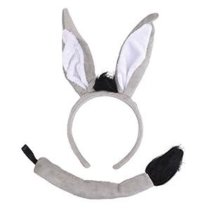 Bristol DS212 - Set de donkey (orejas + cola), unisex, color negro, blanco