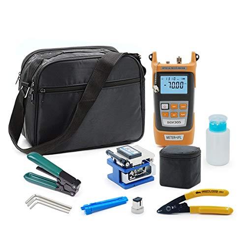 Glasfaser FTTH-Tool-Kit mit Faser-Spalter Abisolierzange Millers Zangen 5km Rotlicht-Laser-optische Power Meter und (Farbe: Orange)