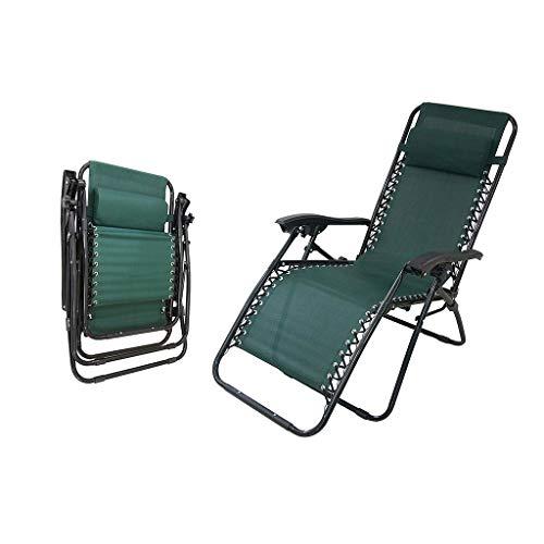 Todeco - Chaise Longue Inclinable, Transat en Textilène de Jardin - Charge maximale: 100 kg - Matériau: Textilène - 165 x 112 x 65 cm, Vert, Avec coussin, Textilène, Pack de 2