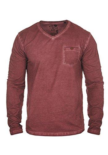 SOLID Terkel Herren Longsleeve V-Ausschnitt Langarmshirt aus 100% Baumwolle Wine Red (0985)