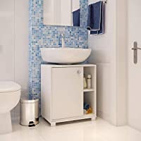BRV Móveis MDP 15mm/Plastic Components Bathroom Cabinet, BBN 01-06, White, H59.8 x W35 x D53.5 cm