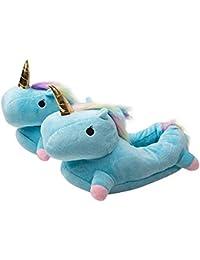 Zapatillas de Estar por casa, Unicornio Felpa Suave Calentar Zapatillas Zapatos Mujer niña Invierno Peluche